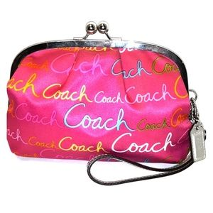 Oversized Coach Pink Script Print Kisslock Bag
